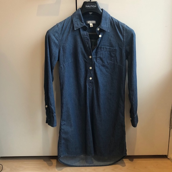 J crew denim shirt dress size 0